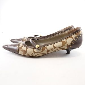 Coach Tabitha Canvas Kitten Heel Mary Janes - 6.5